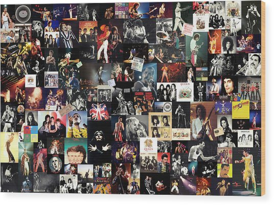 Queen Collage Wood Print