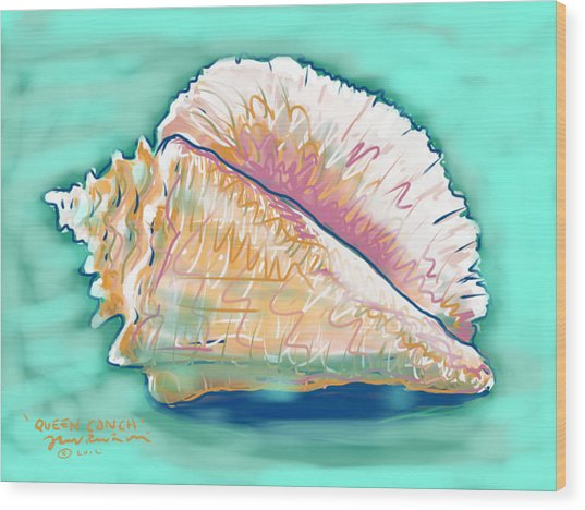 Queen Conch Wood Print