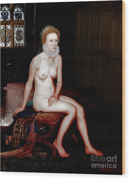 Queen Elizabeth I Seated Nude Wood Print