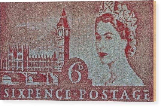 Queen Elizabeth II Big Ben Stamp Wood Print