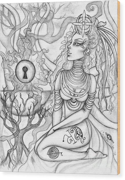 Queen Haelane Wood Print by Coriander  Shea