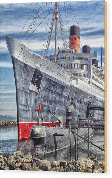 Queen Mary In Long Beach Wood Print