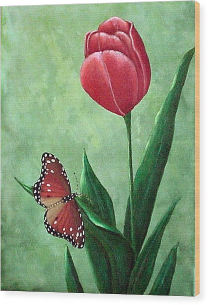 Queen Monarch And Red Tulip Wood Print
