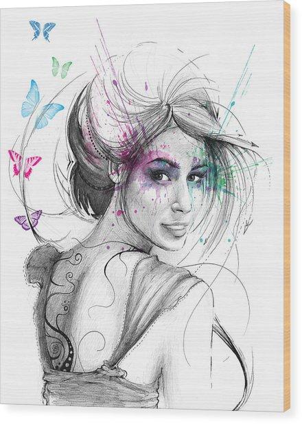 Queen Of Butterflies Wood Print