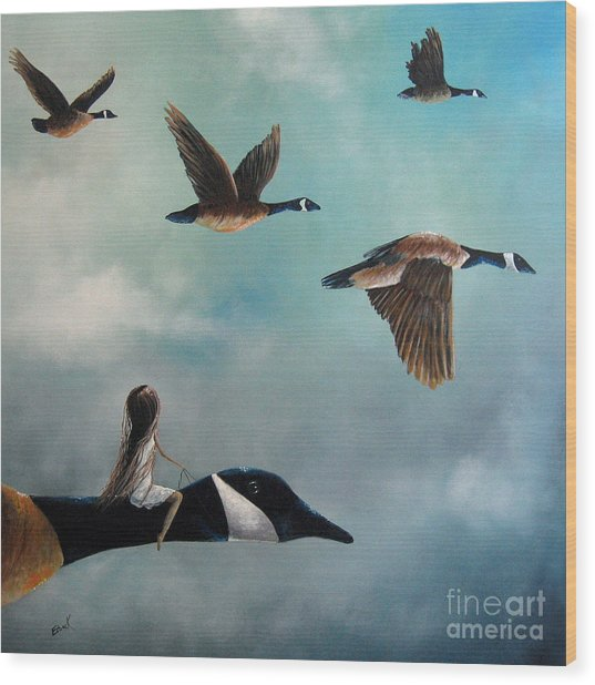 Queen Of The Canada Geese By Shawna Erback Wood Print by Erback Art
