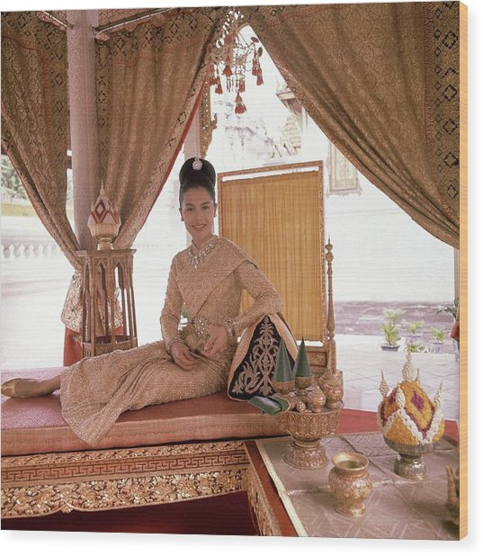 Queen Sirikit At The Grand Palace Wood Print