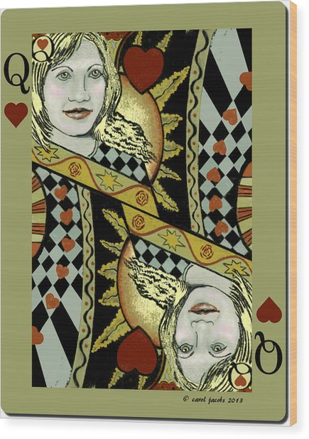 Queen's Card II Wood Print