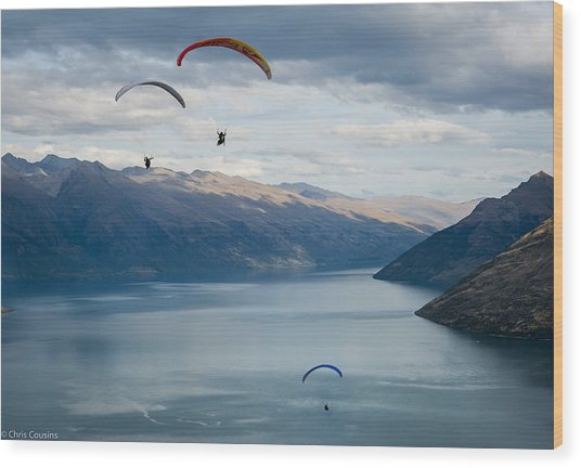 Queenstown Paragliders Wood Print