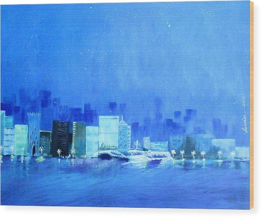 Quiet City Night Wood Print