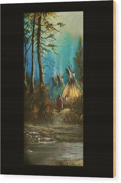 Quiet Forest With Tepees Blank Wood Print