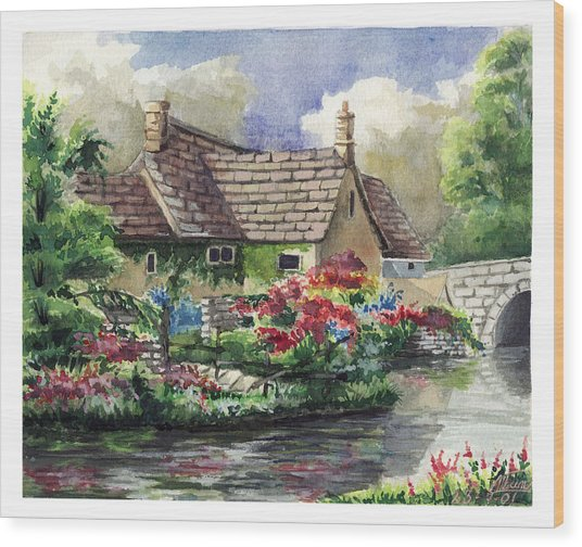 Quiet House Along The River Wood Print