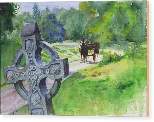 Quiet Man Watercolor 2 Wood Print