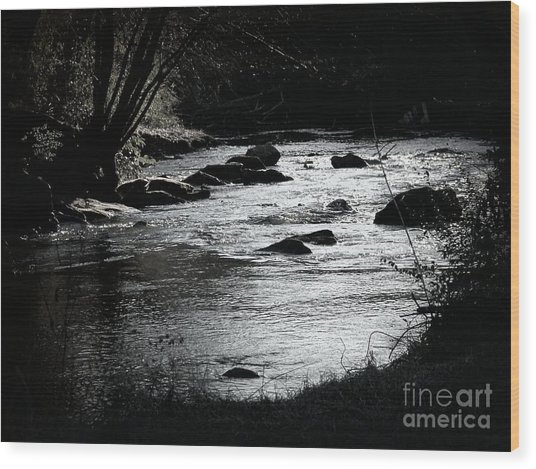 Quiet Stream Wood Print