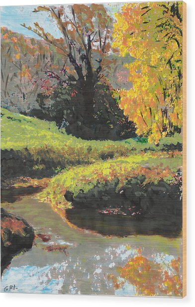 Quiet Stream Maryland Landscape Fall Colors Sketch Wood Print