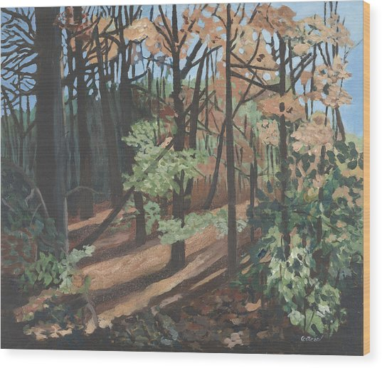 Wood Print featuring the painting Quiet Walk by Jane Croteau