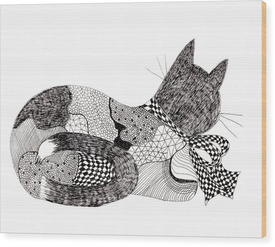 Quilt Cat With Bow Wood Print