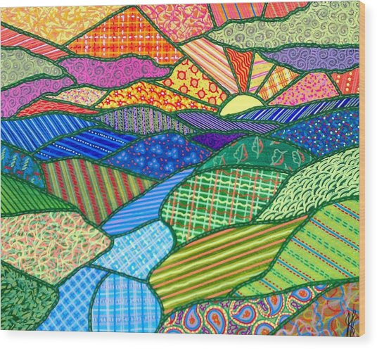 Quilted Appalachian Sunset Wood Print