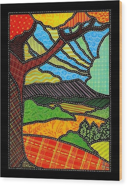 Quilted Bright Harvest Wood Print