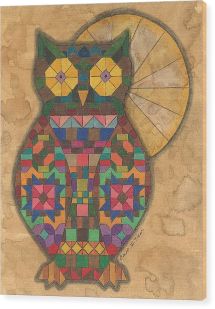 Quilted Owl Wood Print