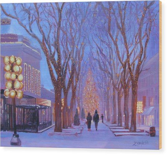 Quincy Market At Twilight Wood Print
