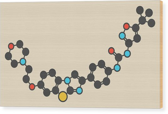 Quizartinib Drug Molecule Wood Print by Molekuul