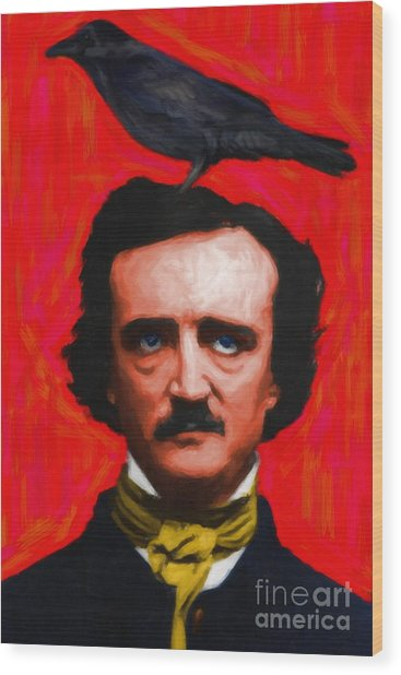 Quoth The Raven Nevermore - Edgar Allan Poe - Painterly - Red - Standard Size Wood Print