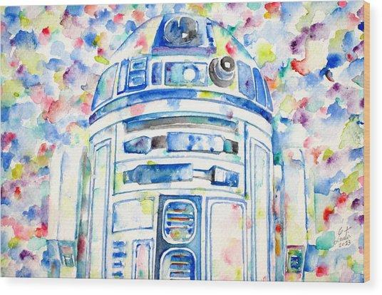 R2-d2 Watercolor Portrait.1 Wood Print