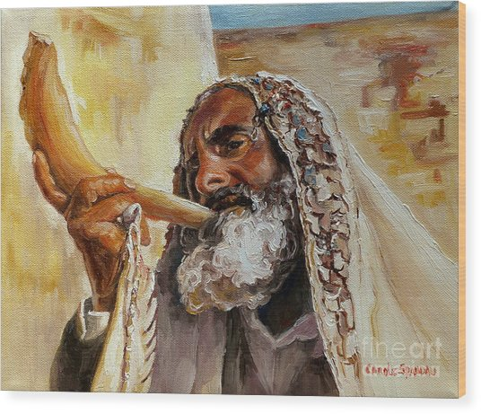 Rabbi Blowing Shofar Wood Print