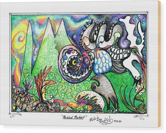 Rabbid Rabbit Wood Print