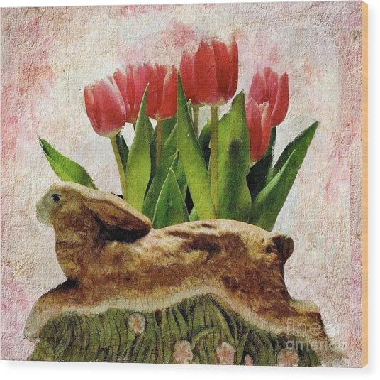 Rabbit And Pink Tulips Wood Print