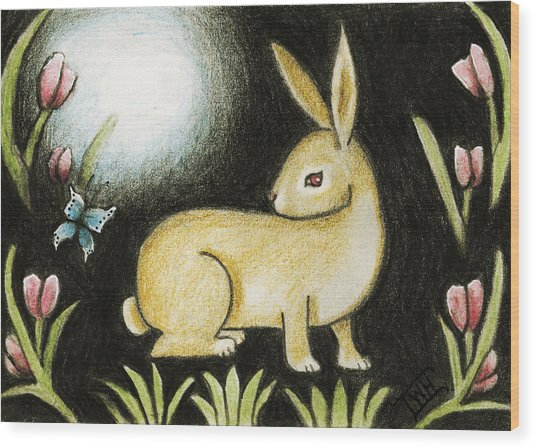 Rabbit And The Butterfly . . . From The Tapestry Series Wood Print