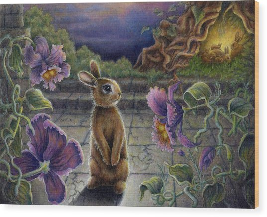 Rabbit Dreams Wood Print