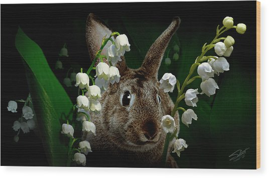 Rabbit In The Lilies Wood Print