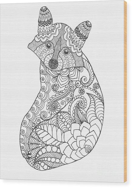 Raccoon. Black White Hand Drawn Doodle Wood Print