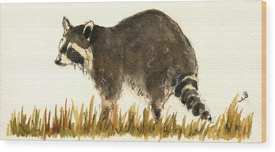 Raccoon In The Grass Wood Print