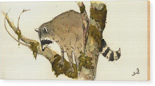Raccoon On A Tree Wood Print