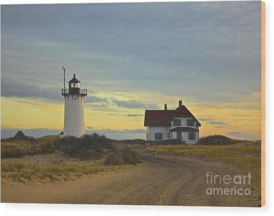 Race Point Lighthouse At Sunset Wood Print