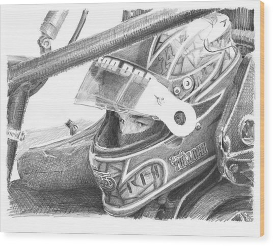 Racecar Driver Pencil Portrait  Wood Print by Mike Theuer