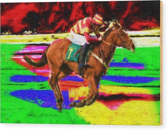 Racehorse Wood Print