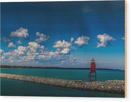 Racine Harbor Lighthouse Wood Print