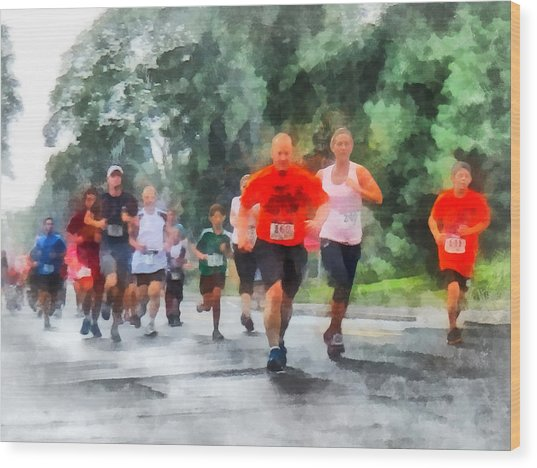 Racing In The Rain Wood Print