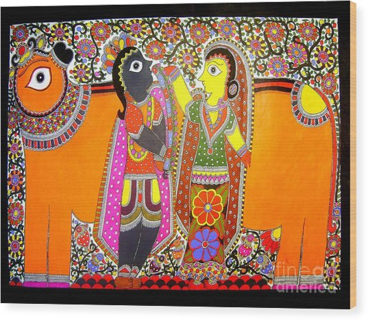 Radha And Krishna Wood Print