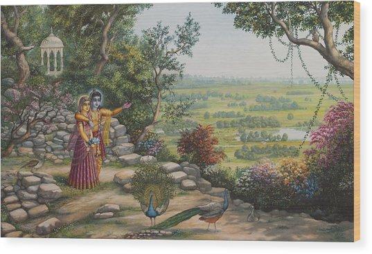 Radha And Krishna On Govardhan Wood Print