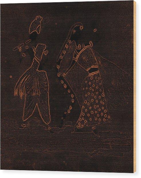 Radha Krishna Dancing Wood Print