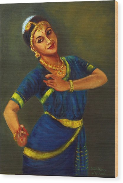 Radha Playing Krishna Wood Print