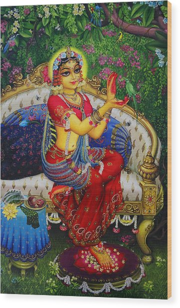Radha With Parrot Wood Print