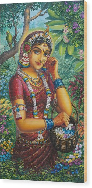 Radharani In Garden Wood Print