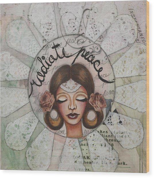 Radiate Peace Inspirational Mixed Media Folk Art  Wood Print