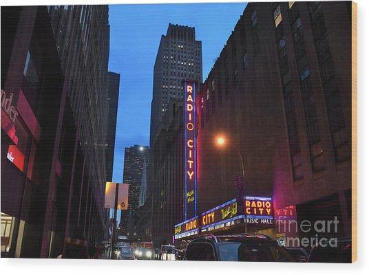 Radio City Music Hall And St Patricks Cathedral Wood Print