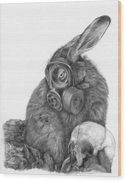 Radioactive Black And White Wood Print